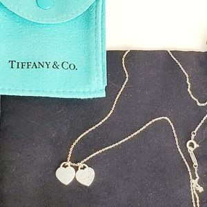 Tiffany & Co 2 Charm Heart Necklace